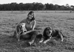 Cathy and Dogs b and W